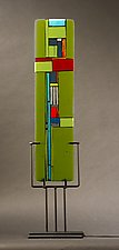 Windows II Green by Vicky Kokolski and Meg Branzetti (Art Glass Sculpture)