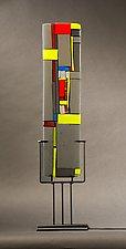 Windows II Gray by Vicky Kokolski and Meg Branzetti (Art Glass Sculpture)