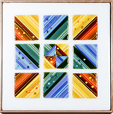 Nine Square - Dawn by Mary Johannessen (Art Glass Wall Sculpture)