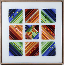 Nine Square - Dusk by Mary Johannessen (Art Glass Wall Sculpture)