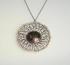Mokume Pendant with Pearl Edging by Gillian Batcher (Silver & Pearl Necklace)