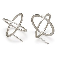 Silver Sphere Earrings by Karen and James Moustafellos (Silver Earrings)