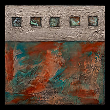 Earth and Fire Blue/ Petite Square by Kara Young (Fiber Wall Art)