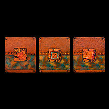 Earth and Fire: Blue S Triptych by Kara Young (Mixed-Media Wall Hanging)