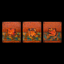 Earth and Fire Triptych Blue S by Kara Young (Fiber Wall Art)