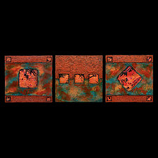 Earth and Fire Blue/ Petite SquareTriptych Blue by Kara Young (Fiber Wall Art)