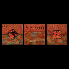 Earth and Fire: Sage Petite Square Triptych by Kara Young (Mixed-Media Wall Hanging)