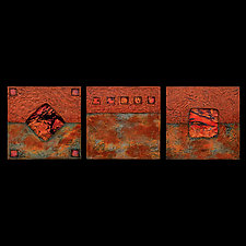 Earth and Fire Sage/ Petite SquareTriptych by Kara Young (Fiber Wall Art)
