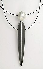 Ebony Pendant with Silver Inlay and Floating Silver Sphere by Suzanne Linquist (Wood & Silver Necklace)