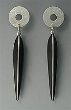Ebony Earrings with Silver Inlay, Silver Tops, 14K Posts by Suzanne Linquist (Wood & Silver Earrings)