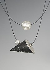 Ebony Cone Necklace with Silver Inlay and Floating Silver Sphere by Suzanne Linquist (Wood & Silver Necklace)