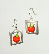 Tomato Crate Earrings by Carolyn Tillie (Silver & Polymer Earrings)