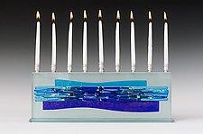 Parting of the Sea Blues I - Medium by Alicia Kelemen (Art Glass Menorah)