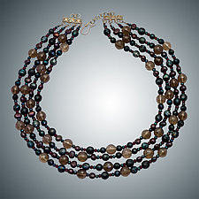 Topaz, Pearl & Garnet Necklace by Judy Bliss (Silver & Stone Necklace)