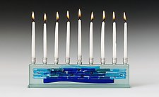 Parting of the Sea Blues I - Small by Alicia Kelemen (Art Glass Menorah)