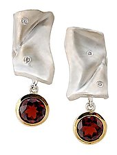 Map 1 Silver Earrings with Garnet by Diana Widman (Gold, Silver & Stone Earrings)