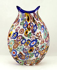 Small Impressionist Pouch by Ken Hanson and Ingrid Hanson (Art Glass Vase)