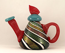 Black, White, Red, and Turquoise Dichroic Teapot by Ken Hanson and Ingrid Hanson (Art Glass Teapot)