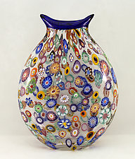 Large Impressionist Pouch by Ken Hanson and Ingrid Hanson (Art Glass Vase)