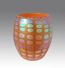 Opal Tangerine Nutty Bowl by Thomas Philabaum (Art Glass Bowl)
