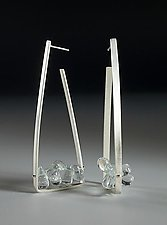 Aquamarine Triangle Hoops by Ayala Naphtali (Silver & Stone Earrings)