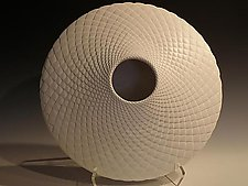 White Saucer Pinecone by Michael Wisner (Ceramic Vessel)