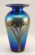 Small Tall Silver Blue Vines Vase by Ken Hanson and Ingrid Hanson (Art Glass Vase)