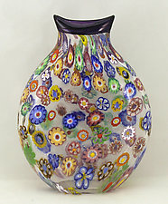 Small Impressionist Pouch (Purple Trim) by Ken Hanson and Ingrid Hanson (Art Glass Vase)