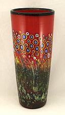 Large Crimson Red Sunflower Cylinder by Ken Hanson and Ingrid Hanson (Art Glass Vase)