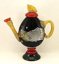 Large Black Blossom Teapot by Ken Hanson and Ingrid Hanson (Art Glass Teapot)