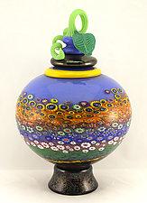 Lidded Garden Vessel by Ken Hanson and Ingrid Hanson (Art Glass Vessel)