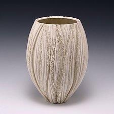 Medium Cream Coral Reed Vessel by Judi Tavill (Ceramic Vessel)