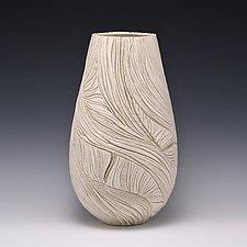 Cream Tall Coral Reed Vessel by Judi Tavill (Ceramic Vessel)