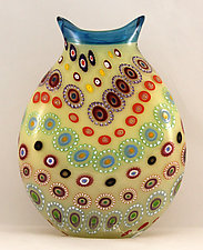 Large Marrakesh Vase with Electric Blue Trim by Ken Hanson and Ingrid Hanson (Art Glass Vessel)