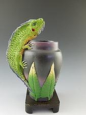 Iguana Vase by Nancy Y. Adams (Ceramic Sculpture)