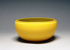 Overlay Bowl in Yellow and Mustard by Scott Summerfield (Art Glass Bowl)