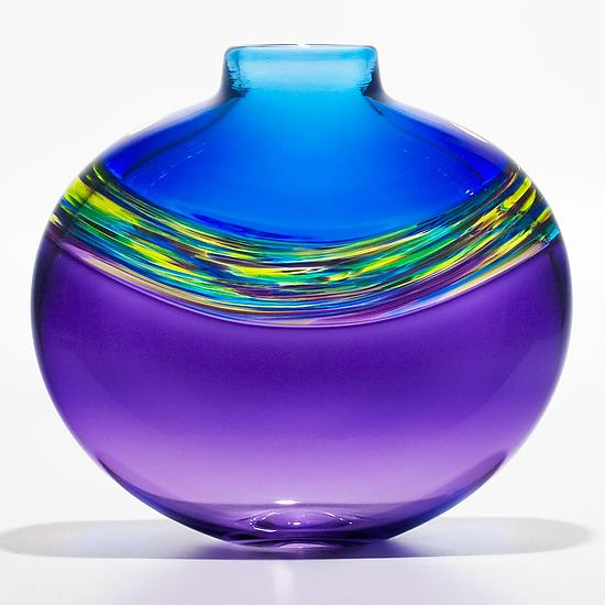 Transparent Banded Vortex Vase in Cerulean Cool Lime and Grape