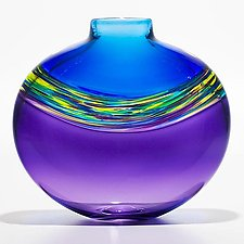Transparent Banded Vortex Vase in Cerulean Cool Lime and Grape by Michael Trimpol and Monique LaJeunesse (Art Glass Vase)