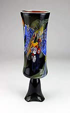 Color Field Footed Cylinder in Black by Wes Hunting (Art Glass Vessel)