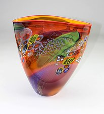 Red Color Field Vessel with Orange and Purple by Wes Hunting (Art Glass Vessel)