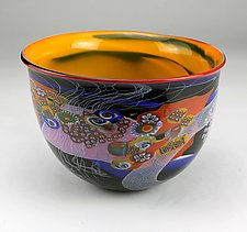 Color Field Bowl with Purple and Black by Wes Hunting (Art Glass Bowl)
