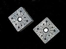 White Thistle Flower Box Domino Earrings by Lisa and Scott  Cylinder (Metal Earrings)