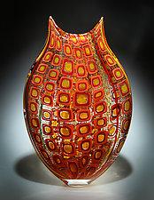 Vermilion and Daffodil Foglio by David Patchen (Art Glass Vessel)