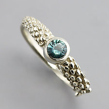 White Gold Ring with Sapphire Size 6.5 by Sarah Hood (Gold & Stone Ring)