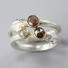 Dogwood Stacking Set with Rose Cut Diamonds Size 6.5 by Sarah Hood (Silver & Stone Ring)