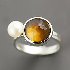 Whisky Quartz and Pearl Sterling Silver Stacking Set - Size 5.75 by Sarah Hood (Silver & Stone Ring)