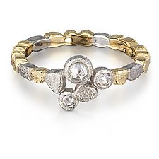 Skinny Pebbles Ring Diamond Trio Size 7 by Rona Fisher (Gold, Silver & Stone Ring)