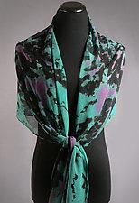 Teal Chiffon Silk Shibori Scarf Wrap by Suzanne Bates (Silk Scarf)