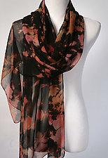 Black Chiffon Silk Shibori Scarf Wrap by Suzanne Bates (Silk Scarf)