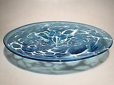 Deep Blue Sea Foam Platter by Ian Whitt (Art Glass Platter)